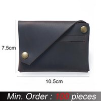 Card Holders 100 Pieces   Lot Genuine Leather Vintage Crazy Horse ID Holder Retro Business Male Coin Purses Wallets