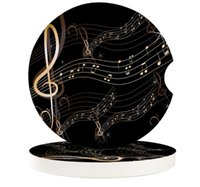 Table Runner Golden Music Notes Small Round Ceramic Car Coasters Set For Drinks Coffee Tea Beverage Cup Holder