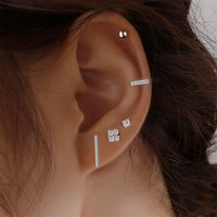 Korean Five Sets Diamond Stud Earrings Copper Beads Strip Ear Nail Women Girls Geometric Gold Silver Earring Jewelry Fashion Accessories Wholesale
