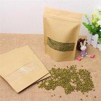 Kraft Paper Self-sealing Ziplock Bag Tea Nut Dry Fruit Food Packaging Bags Reusable Moisture-proof Vertical Bag With Transparent