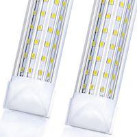 2021 LED Shop Light, 4FT 8FT 144W 14500LM 6000K, Cold White, U Shape, Clear Cover, Hight Output, Linkable Shop Lights, T8 LED Tube Lights,