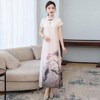 여름 베트남 AO Dai Cheongsam 여성을위한 현대 꽃 qipao 중국 드레스 긴 파티 빈티지 우아한 드레스 민족 의류