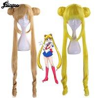 Perruques Ebingoo Sailor Moon Double Cheval Début Longue droite Blonde Citroengel Synthetic Cosplay Prix pour la fête des costumes d'Halloween