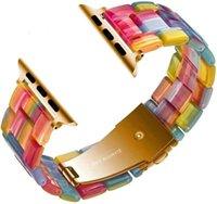 Dla Apple Watch Band Rainbow Smart Pasek Design Silikonowe paski na nadgarstek Seria Iwatch SE 6 5 4 3 2 1 38mm 40mm 42mm 44mm Trwała klamra Bezpłatny statek