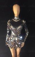 Черные белые блестки зеркала камни сексуальные женские костюмы ярко-кристаллы певец ночной клуб бар шоу диджея платье Performance Star Stage носить