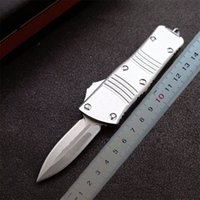 1Pcs High End Silver MT UT Automatic Tactical Knife D2 Stone Wash Blade CNC 6061-T6 Handle EDC Gift Knives With Nylon Bag