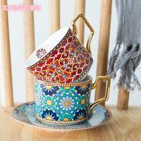 Xinchen Fas Işık Seramik Avrupa tarzı küçük lüks kahve fincanı ve tabağı seti ev öğleden sonra çay
