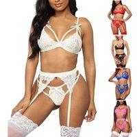 Sets Fashion White Lingerie Babydoll Erotic Women Sexy Lace Underwear Vest Top G-string Bra Panty Set Breathable Porn Clothes L4 MDZR