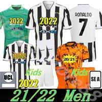 Versión de jugadores Versión Fútbol Jersey 2021 2022 Ronaldo Dybala Morata Chiesa McKennie Juventus Football Kit Shirt 22 Juve Men + Niños Cuarto 4to Set con Calcetines Portero
