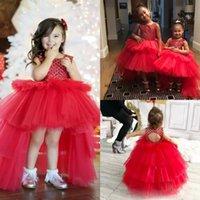 Härlig röd boll gown girl's pageant klänningar hög låga tulle ärmlös blomma flicka klänning barn formella festklänningar skräddarsydda