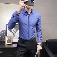 男性服のための長袖のシャツ2021スリムフィットカジュアルオフィスブラウスホムメンズドレスのための高品質のソリッドの紳士ビジネスの長袖のシャツ
