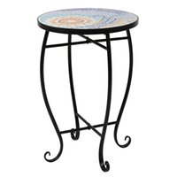 """Smart Furniture Flower Stand/Shelf Side Table Mosaic Stained Glass Sun Flower Surface suitable for room/garden/balcony/restaurant size (9.06*9.06*20.47)"""" / (23*23*52)cm(L*W*H)"""