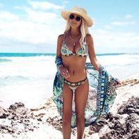 Förderung zwei teile Bikini Sets Böhmische Hohe Taille Badeanzüge 2021 Halter Hals Verband Sexy Frauen Sommer Strand Urlaub Schwimmen Push up Tankinis So0126
