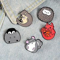 Pins, Brooches Cute Animal Penguin Chinchilla Hedgehog Brooch Enamel Pin Lapel Pins Metal Broches For Men Women Badge Jewelry Accessories