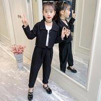 Conjuntos de roupas Terno das Crianças para Menina Manga Longa Blazer e Calça Dois Peça Cinza Cor Preta Moda Casual Crianças Roupas Meninas Roupas