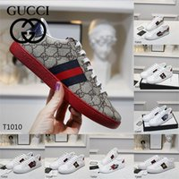 Gucci Mens Mulheres Sneakers Sapatos Casuais Top Quality Bee Chaussures Tênis de Couro Ace Embroidery Trainers Moda Luxurys Designers Flats Bottoms Bottoms 5596