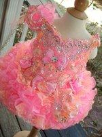 2021 Küçük Kızlar Pageant Elbiseler Rhinestones Boncuklu El Yapımı Çiçekler Toddler Glitz Mini Cupcake Muhteşem Çiçek Kız Elbise Güzel
