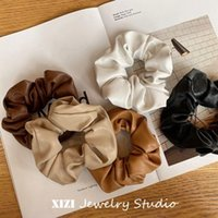 Scrunchie Women Girls Elastic Hair Rubber Bands Accessories Gum For Kids Leather PU Hair Tie Ring Rope Ponytail Holder