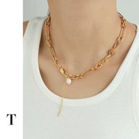 necklace Brass plated genuine gold   platinum French niche knot design pearl chain for women