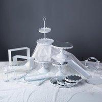 기타 Bakeware 금속 레이스 케이크 스탠드 파티 공급 컵 케 잌은 푸시 팝스 디스플레이 트레이에 대한 흰색 낭만적 인 결혼식 홀더