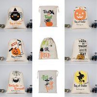 Halloween Candy Sac Cade-cadeau Sac de cadeau Traitement ou astuce Citrouille Sacs de toile imprimée Hallowmas Festival de fête de Noël Festival Sac de cordon 1031 B3