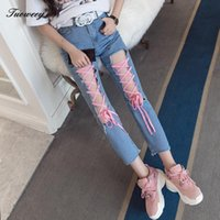 Women's Jeans Women Cross Strap Bandage Hollow Out Hole 2021 Summer Sexy Lace Up Tight Pencil Denim Pants