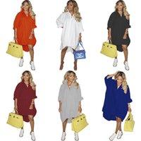 Designer Women Shirt Dress Fashion Solid Color V-neck Loose Large Swing Skirt Single Breasted Hem Stretch Dresses Plus Size