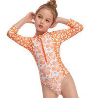One-Pieces Toddler Girls One-piece Swimsuit Infant Flower Leopard Print Long Sleeve Neck Front Zipper Swimwear Monikini Beachwear