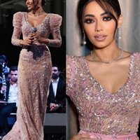 2021 Plus Size Arabic Aso Ebi Luxurious Lace Beaded Prom Dresses Backless Deep V-neck Sheath Evening Formal Party Second Reception Gowns Dress ZJ220