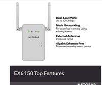 Routeurs WiFi Gamme Extender EX6150 - Couverture jusqu'à 1200 pieds carrés et 20 appareils avec repouette de signal sans fil AC1200 Bande sans fil à double bande plus maille intelligente itinérante