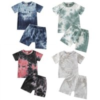 0-5Y Kids Baby Boys Clothes Set 2021 Summer Toddler Short Sleeve T-shirt Tops + Shorts Tied-Dye Printed Casual Boys Outfits X0719