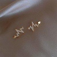 Neue KPOP Kleine Ohrringe Heartbeat Graph Kristall Ohrringe Für Frauen Temperament Einfache Stud Koreanische Liebe Unregelmäßigen Modeschmuck 1281 Q2