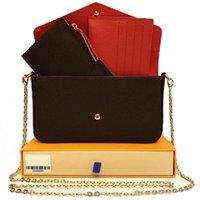 عالية الجودة مساء أكياس حقيبة الكتف مع مربع ثلاث قطع دعوى crossbag حقيبة حمل التسوق الأزياء الكلاسيكية المحافظ النساء المحفظة # 526