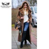 Tatyana Furclub manteau X-Long Robe Full Naturel Mode Slim Pelt Sashes Luxe Dames Manteaux Femmes Faux Fourrure