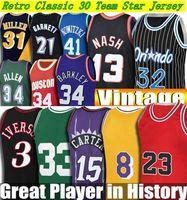 Jersey cousu rétro Men S-6xl 1 Hardaway 3 Iverson 8 Smith 12 Stockton 15 Carter 35 Durant 13 Nash 30 Curry 33 Pippen 55 Mutombo 91 Rodman 1984-2020 Classic Jerseys