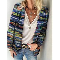 Autumn Winter Women Cardigan Warm Long Sleeve Casual Striped...
