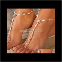 Sexy Starfish Anklets Beach Fashion White Sea Star Barefoot Sandals Beaded Chain Ankle Bridal Foot Jewelry Bqql2 Jb0Jm