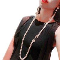 Модный реальный натуральный длинный жемчужный ожерелье женщины, свадьба белый пресноводный круглый подарок