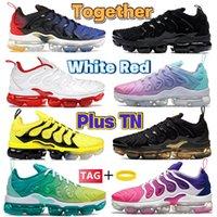 Yeni Birlikte TN Plus Koşu Ayakkabıları Üçlü Siyah Beyaz Üniversite Kırmızı Bumblebee Limon Limon Gerilim Mor Üzüm Köpekbalığı Metalik Altın Erkek Kadın Tasarımcı Sneakers