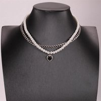 Pendant Necklaces Vintage Pearl Heart Choker Necklace For Women Wedding Punk Clavicle Chain Jewelry Gift