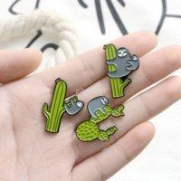 Summer Bradypod Bracciale Play Cactus Brooch Pins Smalto Soffice Animale Pin Per Le Donne Uomo Vestito Top Cosge Fashion Jewelry Will and Sandy