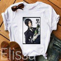 애니메이션 블랙 버틀러 여름 남성 남자 탑스 세바스찬 코스프레 짧은 소매 티셔츠 한국어 팝 streetwear 소녀