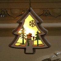 Рождественские Освещенные деревянные кулон Рождественская елка колокольчик подарок звезда дизайн висит кулон веселый рождественские дерево висит орнамент RRE9493