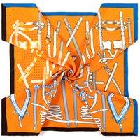 Soik carré à la main 90cm Silk Pashmina Foulards Craps 90 * 90cm Accessoires de mode Femelle Vintage Simple Modèle Impression Foulume de luxe Foulume Femmes Femmes Robe