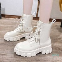 fashion-Women's Ankle Boots Ladies Pu Leather Warm Plush Shoes Lace Up Female Platfrom Short Boot Woman Boots Winter Autumn