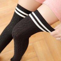 Sonbahar Kış Moda 7 Renkler Çorap Çorap Kadınlar Için Seksi Çorap Örgü Pamuk Uyluk Yüksek Güzel Uzun Çizgili Diz ZXH0141