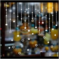 Décor & Gardenchristmas Stars Window Glass Stickers Curtain Art Design For Living Room Home Decoration Wall Decal Showcase Decor Drop Deliver