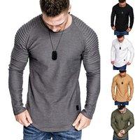 SPOT 2020 adolescente otoño nuevo tendencia plisado color sólido color redondo manga larga camiseta hombre, soporte lote mixto