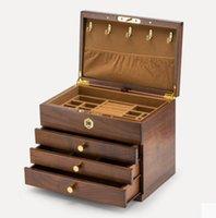 Caja de joyería de madera maciza importada de alta calidad Accesorios de lujo de madera dura Pendientes de brazalete Pendientes de pernos Anillos Collar Pulsera Manteniador Organizador de huellas dactilares Bloqueo de huellas dactilares 4 Capa