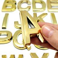 Neuheit Artikel 5 cm 3D Goldene englische große Buchstabe Alphabet Aufkleber Kunststoff Haus Nummern Ziffern Tag El Home Adresse Türaufkleber